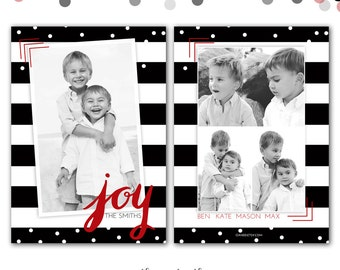 Christmas Card, Black and White Stripes, Red, Joy,  Photo Card, Holiday Card, Stripes and Confetti, Printed or Printable