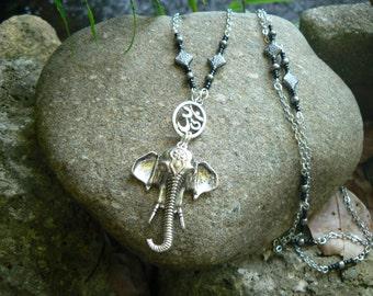 spiritual  ganesha necklace zen necklace yoga necklace statement necklace buddha necklace elephant  ohm earrings in yoga boho gypsy style