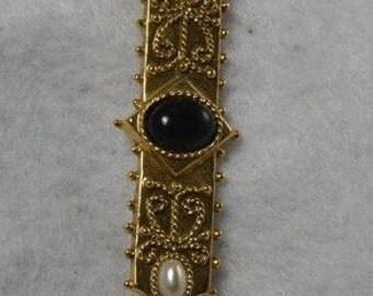 Faux Black Pearl Brooch