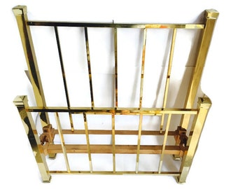 Vintage PAIR Brass Twin Beds Shiny Brass Headboards & Footboards Hollywood Regency Glam Bedroom Mastercraft with original side rails