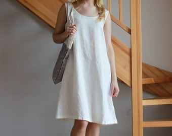 Linen dress White linen dress Beach linen dress Pink dress Women White Beige Coffee Milk Peach Sky Blue Yellow dress