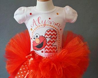 Elmo birthday outfit, Elmo tutu and shirt, Elmo girls birthday outfit