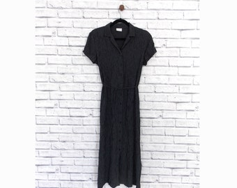 SLEEK SOPHISTICATION - 1990s Black Maxi Dress with Criss Cross Pattern | Long black vintage dress | 1990s dress | Little Black Dress