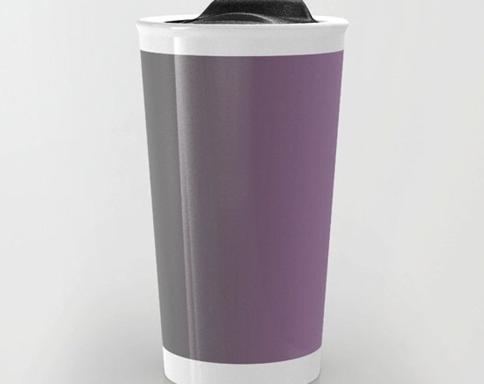 Purple to Gray Ombre Travel Mug - Purple and Gray - Coffee Travel Mug - Hot or Cold Travel Mug - 12oz Travel Mug - Made to Order