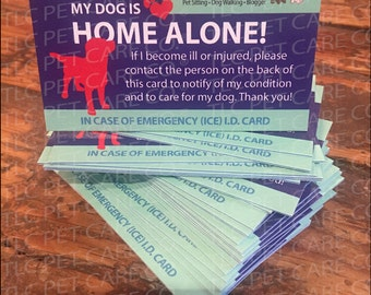 2 Pk. DOG HOME ALONE Heavy Weight Cardstock Pets Cat Alert Emergency I.D. Identification ice Contact Card w/Optional Sealable Plastic Pouch