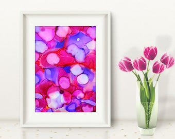 Original abstract painting pink and purple energy ink painting