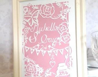 Personalised Wedding Papercut / Wedding Gift / Wedding Memento / Wedding Gift for the Couple / Handmade Wedding Gift