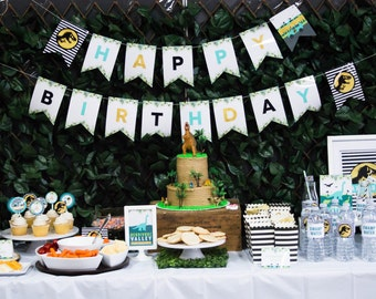 Dinosaur Birthday Banner, INSTANT DOWNLOAD, Happy Birthday Banner, Jurassic Party, T-Rex Birthday Banner, Boy's Birthday Decor, #71