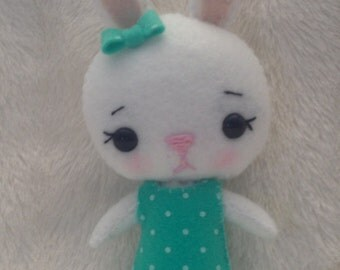 Hand-Sewn Stuffed Felt Girl Bunny Pocket Pet