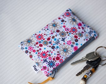 Small zip pouch, teen girl gifts, coin purse, lilac cosmetic bag