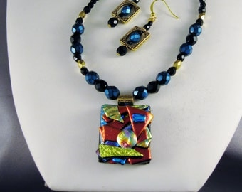 Picasso Dichroic Pendant with Czech Glass Beads
