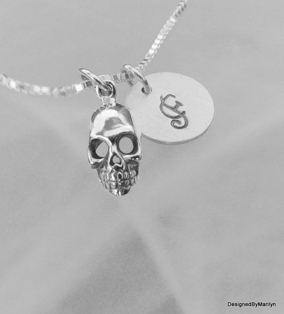 Sterling silver skull necklace, Skull jewelry, day of the dead jewelry, solid sterling silver necklace, goth jewelry