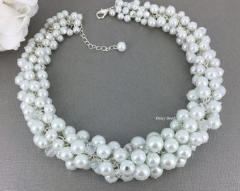 Bridal Jewelry, White Pearl Cluster Necklace, Chunky Necklace, Bridesmaid Necklace, Bridesmaid Gift, Bridal Necklace, Wedding Jewelry, Bride
