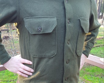 Army Green Wool Men's Shirt M