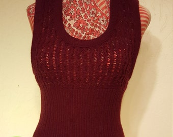 Red Wine Fitted 70's Sweater Vest