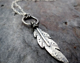 Feather Drop Necklace // handmade sterling silver raven feather on delicate chain // native american influence // southwest artisan (4086)