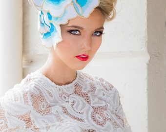 Spring/Summer Races Fashion Abstract Fascinator in light blue, white and yellow