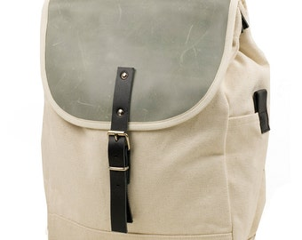 White Greystone NoMad Backpack - Men's Leather and Canvas Backpack - Exclusive Men's Accessories