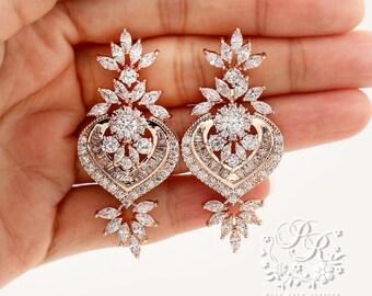 Wedding Earrings Rose Gold plated Zirconia Earrings Platinum plated Zirconia Earrings Wedding Jewelry Bridal Earring Bridal Jewelry Ava