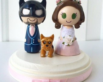 Batman Themed Wedding Cake Topper w/ customizable Bride and Groom! Made to Order!