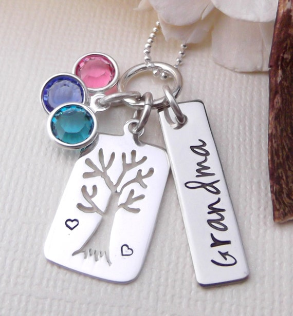 Grandma Necklace- Personalized Grandma Jewelry- Hand Stamped Jewelry- Family Tree Necklace- Tree Of Life Necklace- Mommy Jewelry