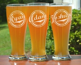 Etched Beer Glasses, Personalized Pilsner Glasses, 2 Custom Beer Mugs His and Hers Gift Wedding Favor for Dads 16oz Glasses Bridesmaids Gift