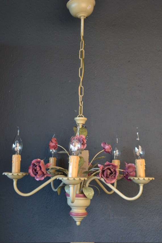 Tole flower chandelier with roses