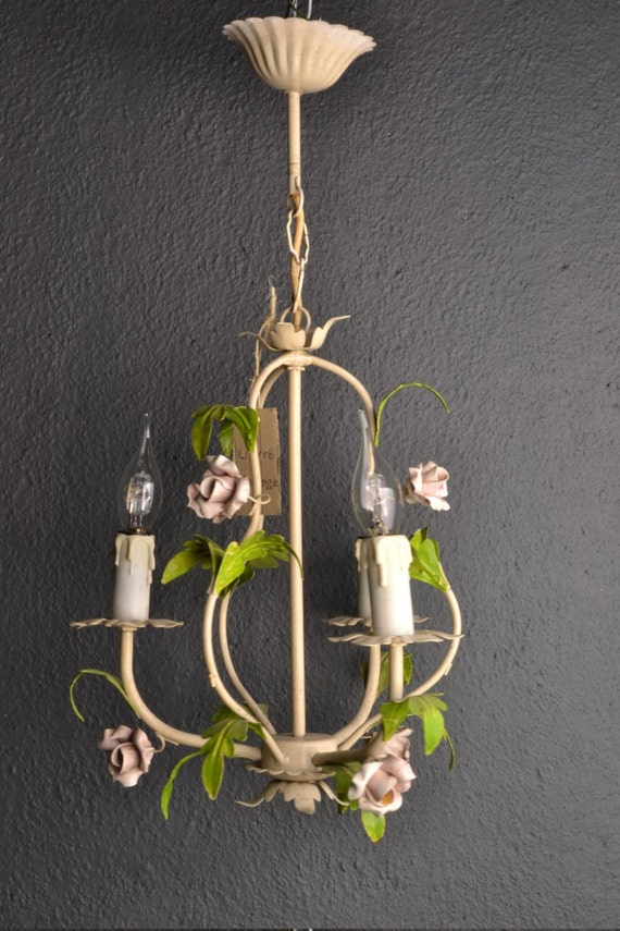 Fabulous Italian tole Flower Chandelier with porcelain roses.