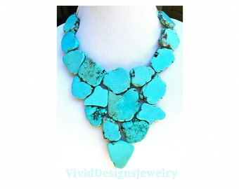 Turquoise Triangle Necklace - Triangle Jewelry -Statement Necklace -Bib Neclace - Turquoise Bib Jewelry - Turquoise Stone Statement Necklace