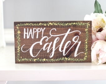 Happy Easter Sign, Easter Decor, Rustic Wooden Sign, Farmhouse Decor, Home Decor, Wall Art