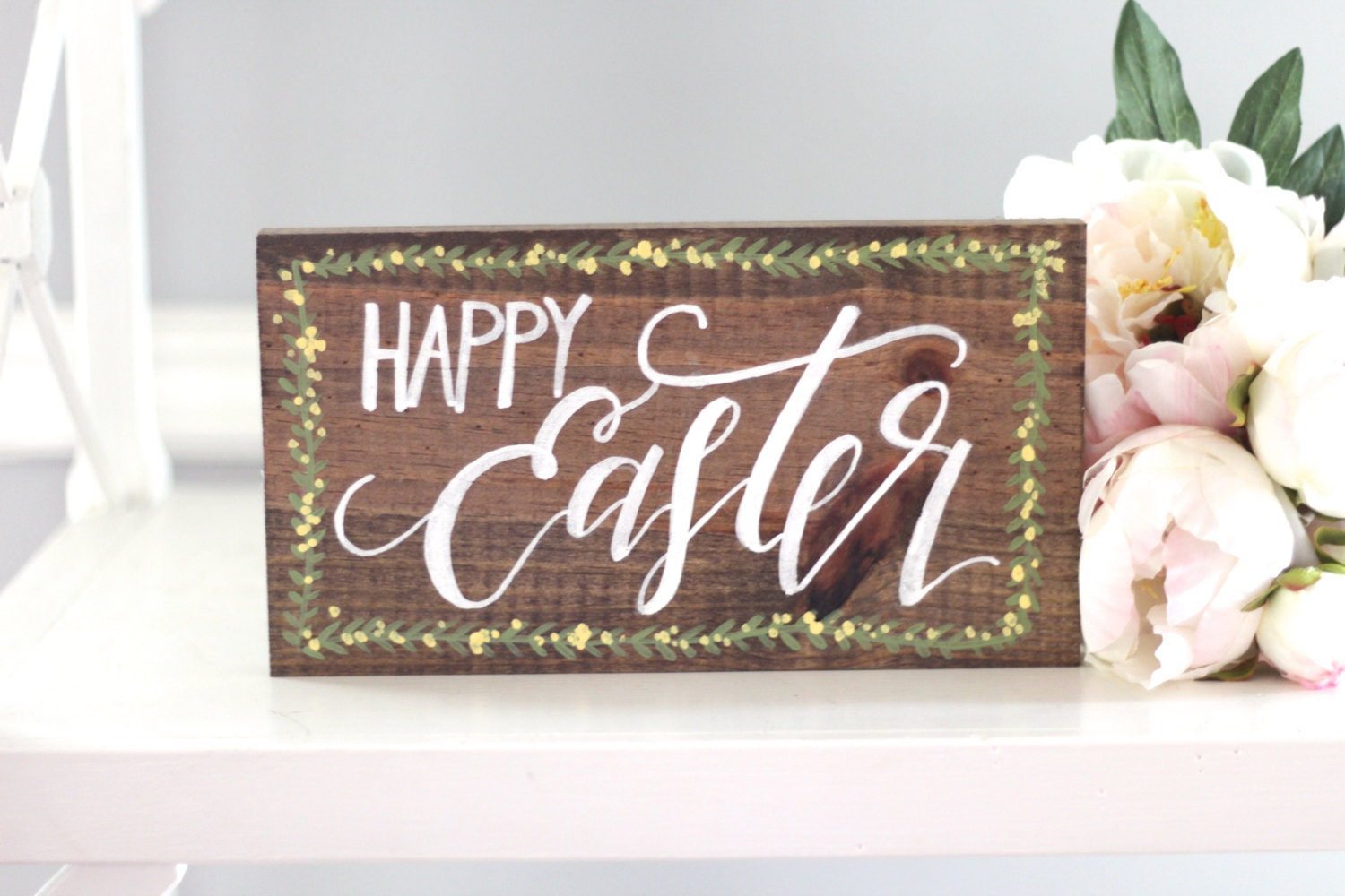 Happy easter sign easter decor rustic wooden sign farmhouse for Sign decoration