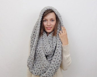 SALE Ready to Ship! Oversized Chunky Infinity Scarf / The GREAT HARE / Earl Grey