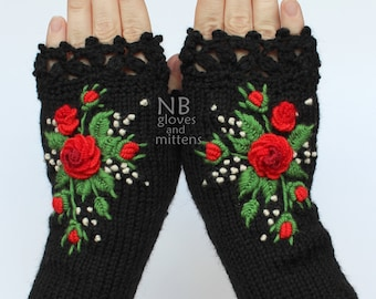Knitted Fingerless Gloves, Black, Red, Green, Roses, Gloves & Mittens, Gift Ideas, For Her, Winter Accessories
