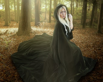 Green Velvet Hooded Cloak long cape with metallic gold clasp and ribbons