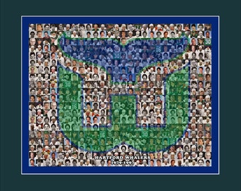 Hartford Whalers Photo Mosaic Print Art Designed Using Whalers Player Images. Handmade by The Mosaic Guy