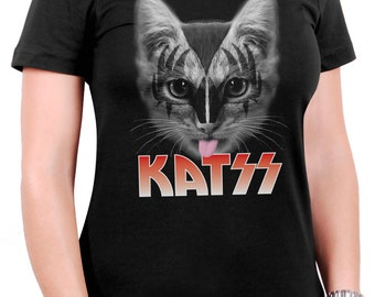 Katss - Funny Cat T-shirt : Kiss Parody Shirt for Women