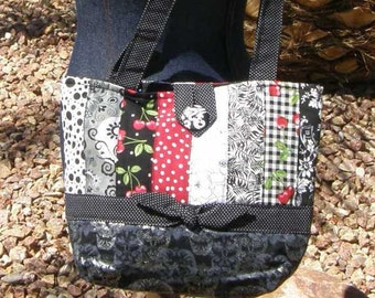 Silver Skull and Cherries Patchwork Purse