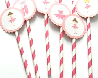 12 Ballerina Party Straws, Ballet Theme, First Birthday, Ballerina Birthday, Ballet Shower, Tutu Theme Straws, Stripe Paper Straws, Dancing