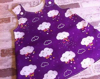 Pitter patter purple clouds girls, baby pinafore dress custom made 0-10 years