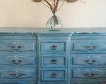 SOLD*******************************Gorgeous French Country Parlor Buffet, Sideboard, Credenza, Media Console, Vintage Blue Dresser