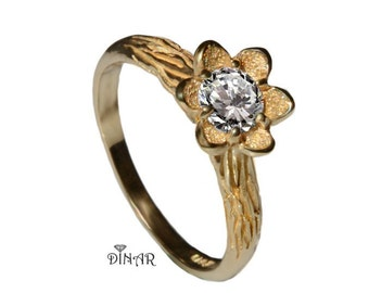 flower engagement ring, 14K yellow Gold floral design Ring, half carat natural diamond solitaire ring, women diamond ring, nature inspired