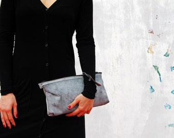 Leather clutch, leather purse, gray leather clutch, evening clutch, evening handbag, every day clutch, gray clutch, gray purse, handbag