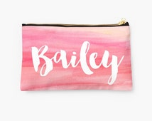 Personalized Pink Watercolor Pouch- choice of size, personalized makeup bag, monogrammed pouch, monogram, monogram gifts, name pouch