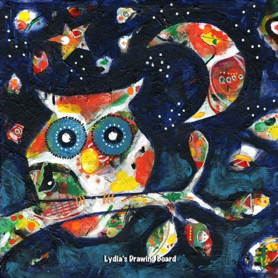 Owl, Owl Artwork, Owl Art , Owl Decor, Primitive Decor, Spirit Animal, Colorful Art, Original Painting, Colorful Artwork, Moon, Whimsical