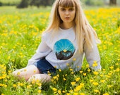 Hand Painted Sunshine in the Mountains Sweater