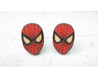 Spiderman Cuff Links, lasercut cuff links, wood cuff links, spiderman mask cuff links, father's day, groomsmen gift, gifts for him, birthday