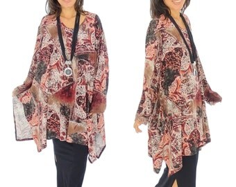 GS300 tunic layered look asymmetrical Jersey Gr. 38-54 red/brown/black