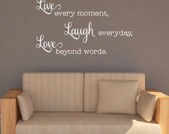 Live Laugh Love Wall Decal   Inspirational Decal Quotes   Living Room Wall  Sticker   Family
