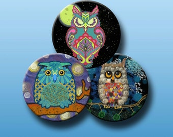 NIGHT OWLS - Digital Collage Sheet 2.5 inch round images for Pocket Mirrors, Magnets, Paper Weights - Instant Download #214.