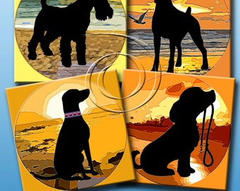 BEACH DOGS -  Printable Digital Collage Sheet 12 X 4 inch squares for Coasters, Greeting Cards, Gift Tags.  Instant Download #188.